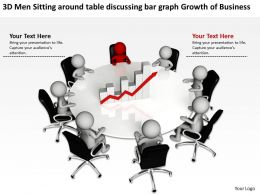 3D Men Sitting around table discussing bar graph Growth of Business Ppt Graphic Icon