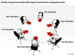 3D Men sitting Around table With Jigsaw Puzzle Pieces meeting discussion Ppt Graphic Icon
