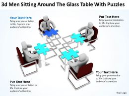 3D Men Sitting Around The Glass Table With Puzzles Ppt Graphics Icons