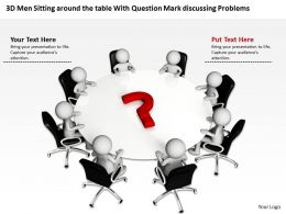 3D Men Sitting around the table With Question Mark discussing Problems Ppt Graphic Icon