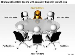3D men sitting Boss dealing with company Business Growth risk Ppt Graphic Icon