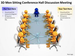 3D men sitting conference hall discussion meeting Ppt Graphics Icons