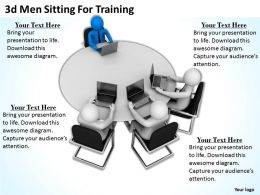 3d Men Sitting For Training Ppt Graphics Icons Powerpoint