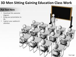 3D Men Sitting Gaining Education Class Work Ppt Graphics Icons
