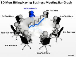 3D Men Sitting Having business Meeting bar graph Ppt Graphics Icons