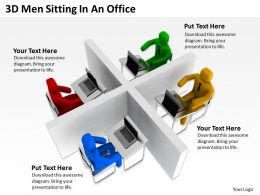 3D Men Sitting In An Office Ppt Graphics Icons Powerpoint