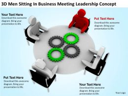 3D Men Sitting In Business Meeting Leadership Concept Ppt Graphics Icons Powerpoint