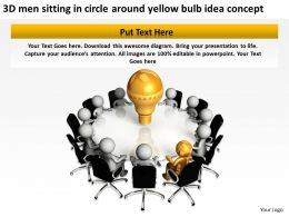 3D men sitting in circle around yellow bulb idea concept Ppt Graphic Icon
