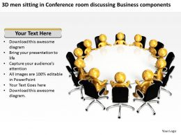 3D men sitting in Conference room discussing Business components Ppt Graphic Icon