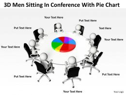 3D Men Sitting In Conference With Pie Chart Ppt Graphics Icons