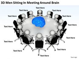 3D Men Sitting In Meeting Around Brain Ppt Graphics Icons Powerpoint