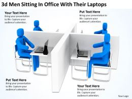 3D Men Sitting In Office With Their Laptops Ppt Graphics Icons