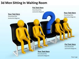 3d Men Sitting In Waiting Room Ppt Graphics Icons Powerpoint
