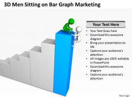 3D Men Sitting On Bar Graph Marketing Ppt Graphics Icons Powerpoint