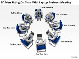 3D Men Sitting On Chair With laptop Business Meeting Ppt Graphics Icons Powerpoint
