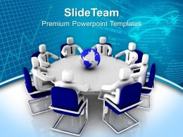 3d Men Sitting On Round Table Powerpoint Templates Ppt Backgrounds For Slides 0213