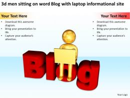 3d men sitting on word Blog with laptop informational site Ppt Graphic Icon