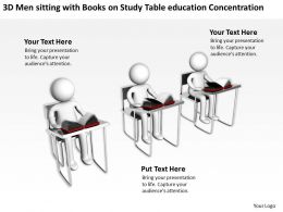 3D Men sitting with Books on Study Table education Concentration Ppt Graphics Icons