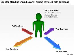 3d_men_standing_around_colorful_arrows_confused_with_directions_ppt_graphic_icon_Slide01