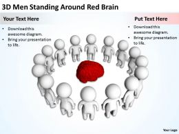 3D Men Standing Around Red Brain Ppt Graphics Icons Powerpoint