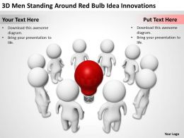 3D men standing around red bulb Idea Innovation Ppt Graphics Icons