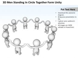 3D Men Standing In Circle Together Form Unity Ppt Graphics Icons