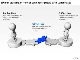 3D men standing in front of each other puzzle path Complicated Ppt Graphic Icon