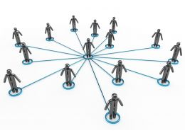 3D Men Standing In Network Stock Photo
