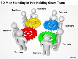 3D Men Standing In Pair Holding Gears Team Ppt Graphics Icons