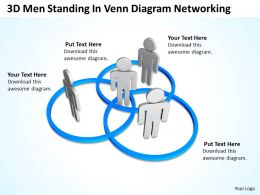 3D Men standing in Venn diagram Networking Ppt Graphic Icon