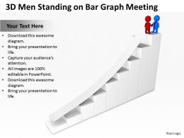 3D Men Standing on Bar Graph Meeting Ppt Graphics Icons Powerpoint