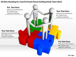 3D men standing on Colorful puzzle pieces holding hands team work Ppt Graphics Icons