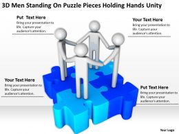 3D men standing on puzzle pieces holding hands Unity Ppt Graphics Icons