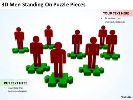 3D Men Standing On Puzzle Pieces Ppt Graphics Icons Powerpoint