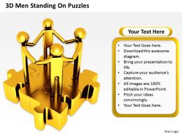3D Men Standing On Puzzles Represents Unity Ppt Graphics Icons