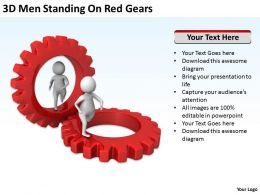 3D Men Standing On Red Gears Ppt Graphics Icons
