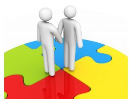 3D Men Standing Over Circular Puzzle Stock Photo
