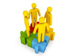 3D Men Standing Over Square Puzzle Stock Photo