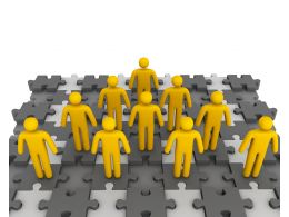 3D Men Standing Over The Puzzle Base For Teamwork Stock Photo