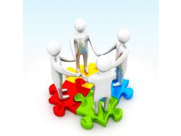 3d Men Standing Over The Puzzle Stock Photo