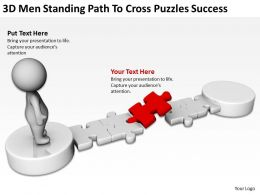 3D men standing path to cross puzzles success Ppt Graphics Icons