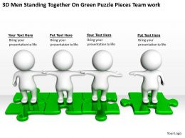 3D Men Standing Together On Green Puzzle Pieces Team work Ppt Graphics Icons