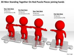 3D Men Standing Together On Red Puzzle Pieces joining hands Ppt Graphics Icons