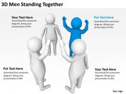 3D Men Standing Together Ppt Graphics Icons Powerpoint