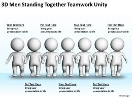 3D Men Standing Together Teamwork Unity Ppt Graphics Icons