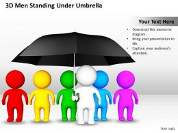 3d_men_standing_under_umbrella_business_team_ppt_graphics_icons_Slide01