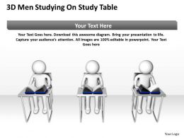 3D Men Studying On Study table Education Ppt Graphics Icons