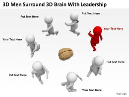 3D Men Surround 3D Brain With Leadership Ppt Graphics Icons Powerpoint