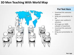3D Men Teaching With World Map Ppt Graphics Icons Powerpoint