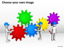 3D Men Team Adjusting Gear Mechanism Interconnection Ppt Graphics Icons Powerpoint